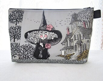 X Large The Ghastlies Fabric Cosmetic Bag Zipper Pouch Padded Makeup Bag Zip Pouch Mathilde Ghastlie Witch Haunted House Smoke Gray TGS MTO