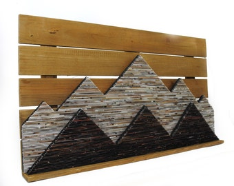 MOUNTAINS - made from recycled magazines & rustic wood frame, modern sculpture, brown, neutral, wall art, depth, unique, interior design
