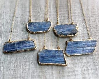 Kyanite Necklace, Gold Necklace, Gold Pendant, Raw Kyanite Slab, Blue Necklace, Indigo Kyanite, Natural Kyanite Jewelry, Gift for Women