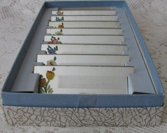 Vintage Mirrored Hand Painted Floral Boxed Set of 8 Luncheon Place Cards Name Cards in Orig Box
