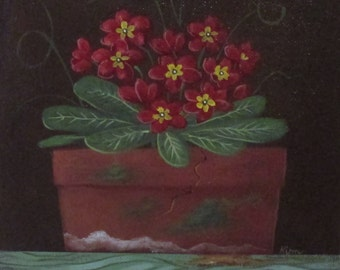 Primrose ORIGINAL Folk Art Painting FREE Shipping