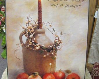 Prayer,Say A Prayer,Crock Jug, Primitive,Still Art,Primitive Wall Art,Apples,Wood Sign,12x18