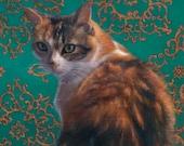 Precious -  Blank Card of Original Oil Cat Painting by Nancy Cuevas