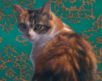 Precious -  Blank Card of Original Oil Cat Painting by Nancy Cuevas
