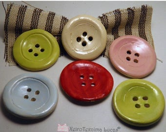 "2 Pcs Handmade Round Ceramic Buttons 5cm (2"") Ornaments - Decoration for Hats - Buttons for Jewelries - Sewing Supplies DIY"