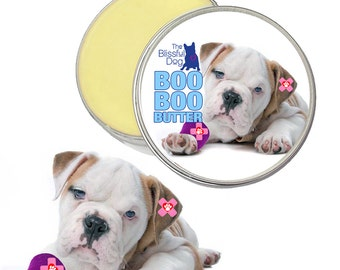 Olde English Bulldogge Boo Boo Butter Handcrafted All Natural Herbal Balm for Dog Discomforts 1 oz tin with Olde Bulldogge Label in Gift Bag