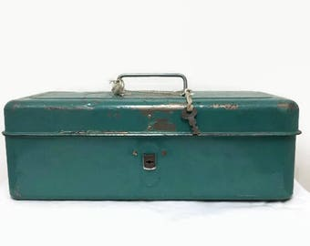 Vintage Liberty Steel Metal Box for Tools, Tackle, More - Lock and Key - Rustic Industrial decor