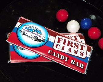 Mail Truck Party Candy Bar Labels. Candy Bar Post Office. Mail Truck Birthday Candy Bar Sleeves. Mailman Party Favors. Mail Truck Favors