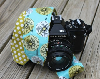 Monogramming Included Camera Strap for DSL Turquoise Retro Floral With Green Polka Dot Reverse