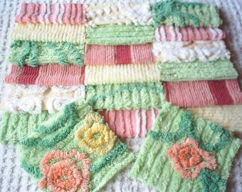 "Vintage Chenille Bedspread Squares Green, Rose BLush,and Yellow Tones and 2 Flowers-20-6"" Fluffy"