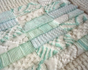 Vintage Chenille Bedspread Squares in Pretty Aqua and White=21-6""