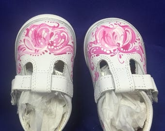 Norwegian pink rosemaled baby girl shoes