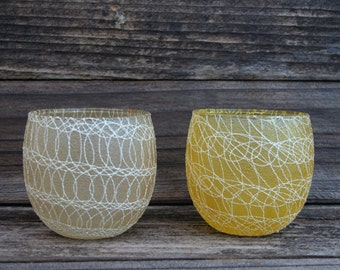Vintage / Retro Glass Votive Candle Holders with Swirl Rubber-Like Design on Outside