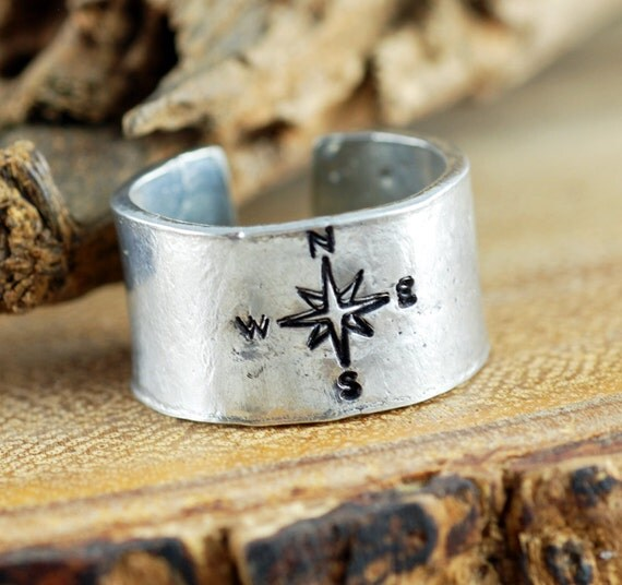 Compass Ring, Secret Message Ring, Silver True North Ring, Hand Stamped Ring, Travel Ring Ring, Custom Ring, Not all who Wander are Lost