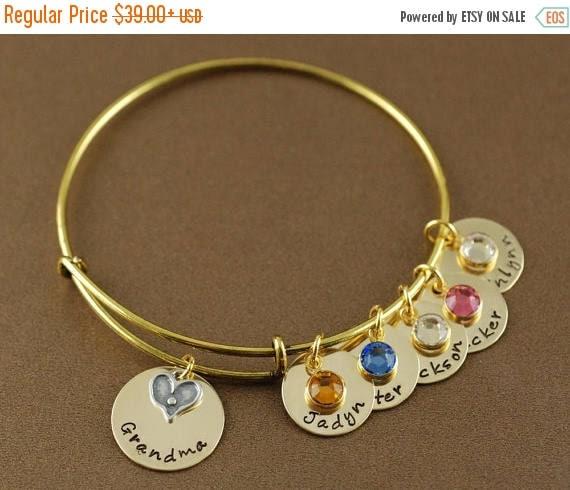 15% OFF SALE Grandma Bracelet, Heart Bangle, Personalized Bangle Bracelet, Gold Bangle Charm Bracelet, Birthstone Bangle, Coordinate Jewelry