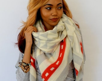 Blanket Scarf Oversized Cream Gray & Red Shawl Wrap Large Square scarf Chevron Arrow Block Blanket Shawl Women Scarf - or CHOOSE Color