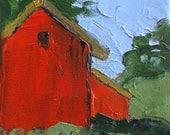 Miniature Impressionist Oil Painting 4x4 Plein Air California FARM BARN Santa Cruz Landscape Lynne French Art