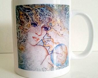 BoHo Gypsy Ceramic Coffee Mug 11oz CRYSTAL GAZER Lynne French Art