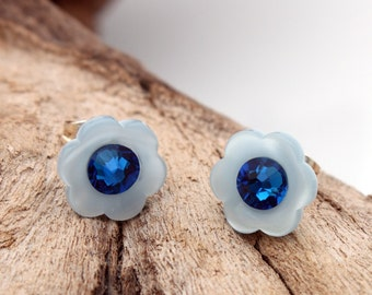 Mini pearlescent blue flower button earrings with Swarovski crystal rhinestone- silver plated stud earrings - cute jewelry gift for her