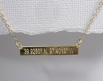 Gold Filled Engraved Coordinates Necklace, Roman Numeral Necklace, Gold Filled Bar Necklace, Name Necklace, Layering Necklace, Gift for Her