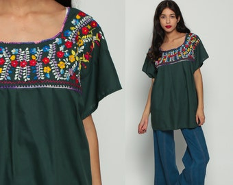 Mexican EMBROIDERED Blouse Hippie Top Boho Shirt FESTIVAL Cotton Tunic Bohemian Floral Vintage Ethnic Tent Retro Dark Green Large