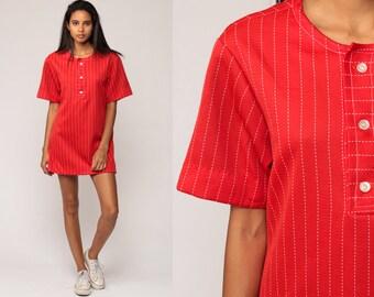 Micro Mini Dress 70s Mod Shirt Red Striped Blouse Shift Tunic Top 1970s Short Sleeve Vintage Boho Retro Bohemian Minidress Medium
