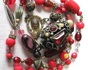 On Sale Vintage Red Glass Necklace Original by Star Holmberg Holy Mother Chunky Rhinestone Faux Pearl Charm Are  Focal Pt Read Full Details