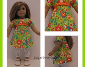 Green Floral Tri-City Knit Dress White Lace Leggings Fits 18 inch Doll