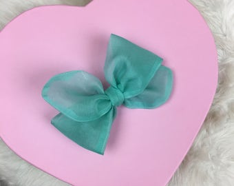 Vintage Organdy Sheer Turquoise Rosie Bow Barrette for Baby, Newborn, Infant, Toddler, Child, Girl, or Adult