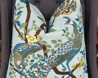 Robert Allen, Peacock Pillow Cover, Decorative Pillow, Throw Pillow, Plumes Pillow, Made in USA, Home Furnishing, Home Decor