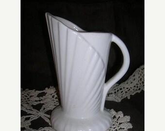SALE- Vintage, Ceramic Pitcher Vase, White
