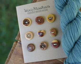 9 Mixed Wood Buttons- in Reclaimed Woods- Eco Knitting Supplies, Sewing Supplies, Craft Buttons- DIY Knitting Supplies