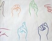 Timeless Treasures Samarra Khaja ASL Alphabet Cotton Fabric - 1/2 yard