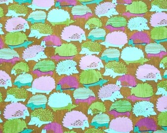 Woodlands Hedgehogs in Juniper by Hoffman Cotton Fabric - 1 yard