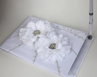 White Guest Book With Flower Accents
