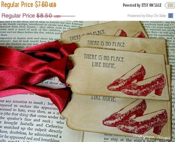 There's No Place Like Home-Wizard of Oz Vintage Tags SET of 6-Ribbon Choices