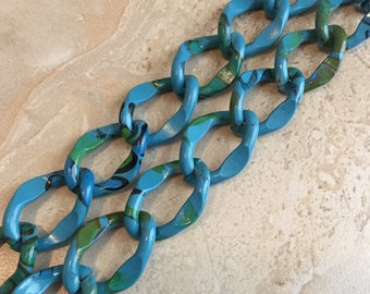 Destash Aluminum Chain - Colorful Aluminum Chain - Chunky Chain - Turquoise Blue Chain - 24 Inches