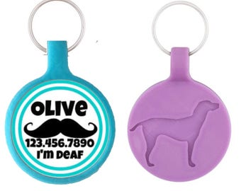 THE ORIGINAL Mustache Personalized Dog ID Pet Tag Custom Pet Tag You Choose Tag Size & Colors-as seen in Every Dog Magazine