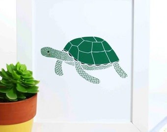 Sea Turtle Print, Turtle Illustration, Nursery Decor, Nautical Art Print, Sea Creature Art Print, Ocean Art, Under the Sea Art Print