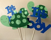 Turtle Party Centerpiece, Turtle Centerpiece Sticks, Turtle Baby Shower, It's A Boy, Turtle Birthday Party, Turtle Table Decor, Set of 5