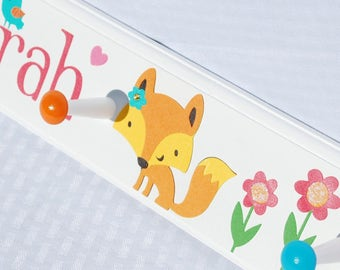 "24"" with 4 Pegs . Little Fox Coat Rack . Sarah"