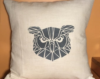 "16"" Ivory geometric owl pillow cover"
