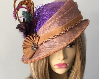 Nina, Couture Millinery Hat, Kentucky Derby hat, purple and gold iridescent sinamay, Ascot races, Melbourne Cup