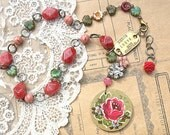 upcycled vintage jewelry necklace assemblage Valentine rose pink red recycled brass dog tag cottage chic