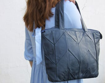 Blue leather handbag, womens leather purse, leather hobo, womens handbag, work bag, tote, large shoulder bag, mothers day