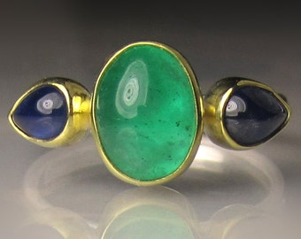 Emerald and Blue Sapphire Ring, Emerald Ring, 18k Gold and Sterling Silver