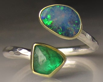 Boulder Opal and Emerald Ring, 18k Gold and Sterling Silver, Open Bypass Ring - sz  7