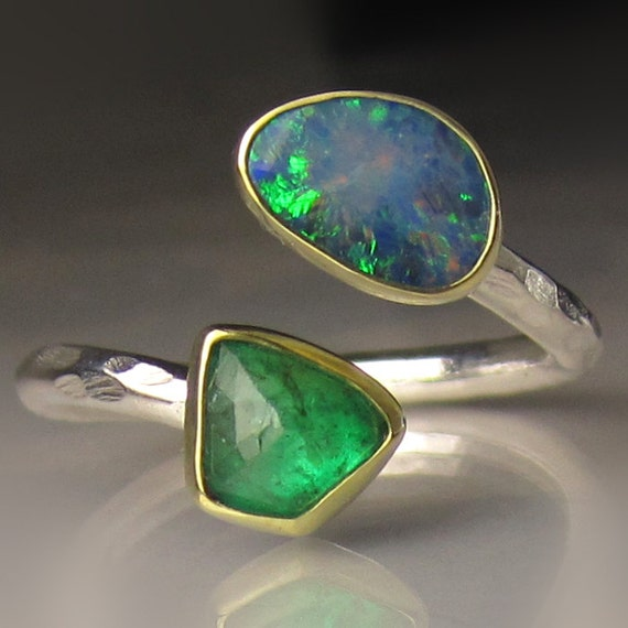 boulder opal and emerald ring 18k gold and sterling silver