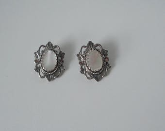 WHITING and DAVIS CO Silver tone and Mother of Pearl Earrings.