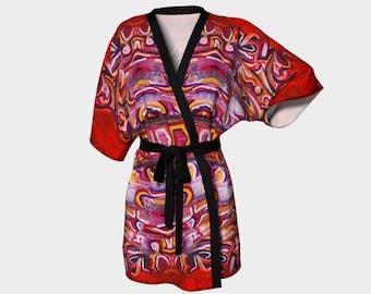 Silk kimono robe, Kimono beach, Kimono boho, Kimono wrap, Red Kimono, Silk dressing gown, Clothes for Women, Women gift ideas, Abstract